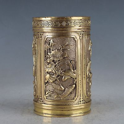 Chinese Exquisite Copper  Fish&Dragon Pot Made During The Xuande Period HT0028