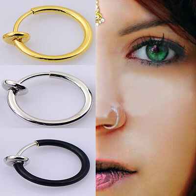 New Fashion Clip On Fake Nose Ring Ear Septum Lip Earrings Non Piercing Gold