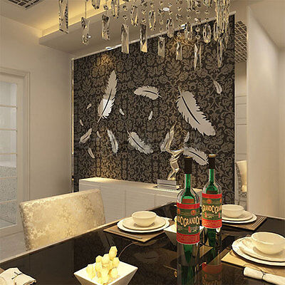 Creative 8pcs Feather Designed 3D Mirror Kitchen Home Decor Wall Stickers
