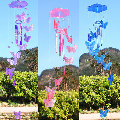 Purple Butterfly Wind Chime Bell Ornament Lucky Living Hanging Decor Art