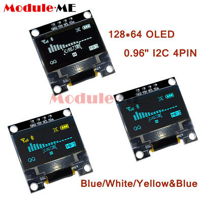 "White/Yellow/Blue 0.96"" I2C 4PIN 128X64 OLED IIC Serial LCD LED SSD Display"