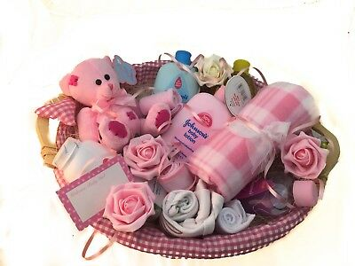 Baby Girl Gift Basket Baby Shower Christening, Teddy, Clothes , Bath Products