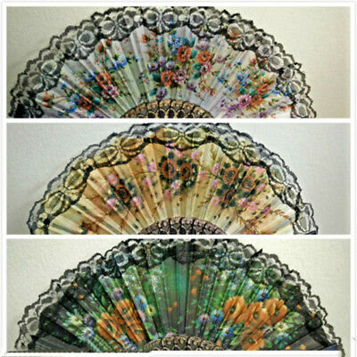 Folding Spanish Flower Floral Sequins Fabric Lace Dancing Wedding Decor Hand Fan