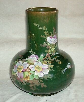 """VERY LARGE 10"""" x 8"""" ANTIQUE CIRCA 1900 ROYAL DOULTON ? HAND PAINTED FLORAL VASE"""