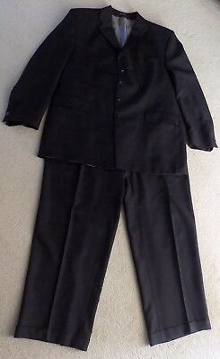 FUBU The Collection Black Wool Suit w/ Red Plaid Strips  - 48 R 47X32.5