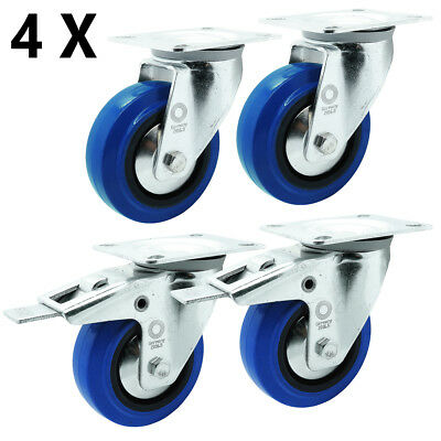 4 x Vollgummi Blue Wheels Transport Schwerlast Lenk Rolle Ø 100 mm Lenk-Brems