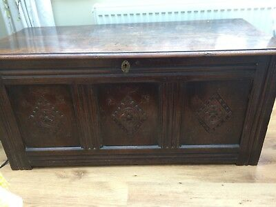 18th Century Oak Coffer With Hinged Kid 112cm