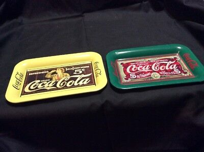 Lot Of 2 Different Coca-Cola Mini Advertising Tip Trays . - 1989