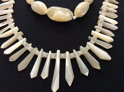 Vintage Art Deco Graduated Oval Mother Of Pear Necklace And Tribal Looking One