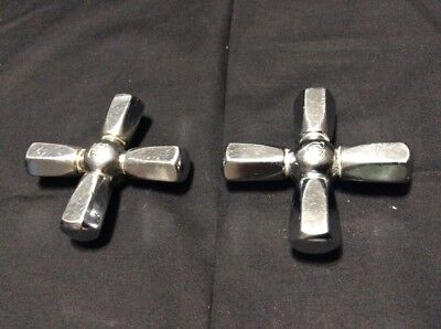 Vintage~Antique Water Faucet Tap Hot & Cold Handles Chrome/Steel  Cross Shaped