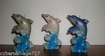 "Set of 3 Dolphin Shaped Candles Individually Boxed 4 1/2"" Nautical Decor"