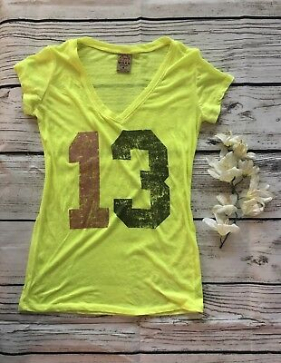 "♡ Well Worn Cute Juniors Neon Yellow Sheer Workout Tee Graphic Top ""13"" S Small"