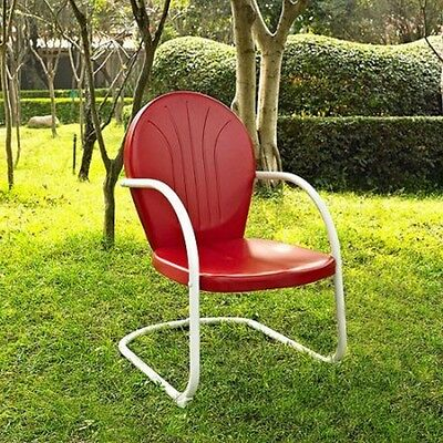 Retro Metal Lawn Chair Front Porch Red White Vintage Style Deck Seat Patio Yard
