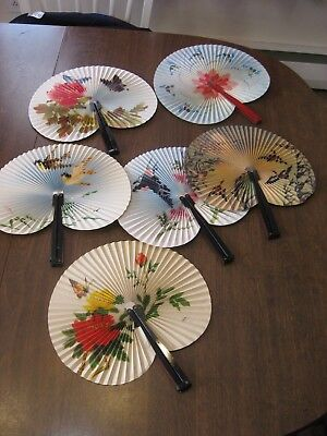 (6) Vintage Hand Fans People's Republic China Colorful Images Birds Flowers