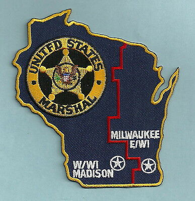 United States Marshal Madison-Milwaukee Wisconsin Police Patch State Shaped