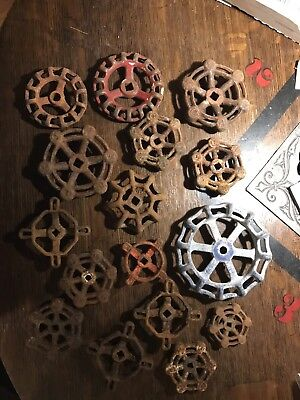 Lot Of 16 Vintage Cast Iron Valve Handles Steam Water Spigot Boiler