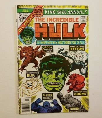 Marvel comics 1976 the incredible Hulk Annual #5 Early Groot Appearance