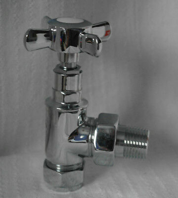 Pair of Angled Traditional Edwardian Radiator Tap Valves 2 two 15mm towel rail