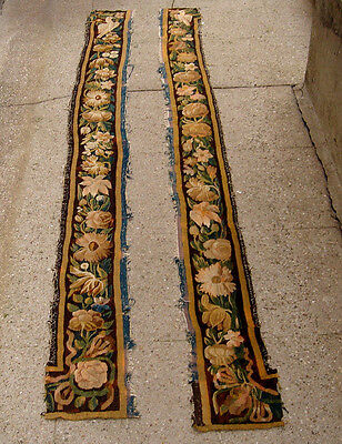 A Spectacular Pair of Antique 18th Century Tapestry Borders With Birds