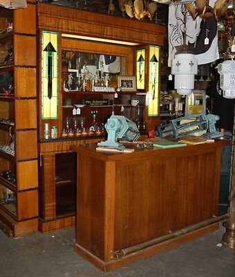 Art Deco Front & Back Bar Mahogany Stained Glass Candy Soda Barber Shop