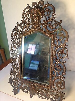 Antique Victorian Solid Bronze Bacchus Table Top Mirror 1880's