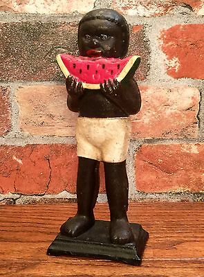 Cast Iron Black Americana Standing Watermelon Boy Vintage Penny Coin Bank