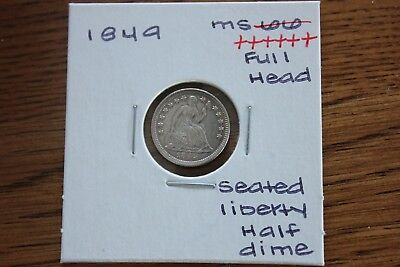 1849  Full Head  Unc+++  Seated Liberty Half Dime