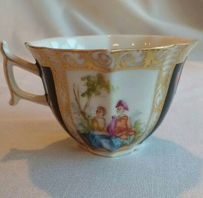 Antique Porcelain China Tea Cup Colonial Courting Couple Gold Leaf Flowers