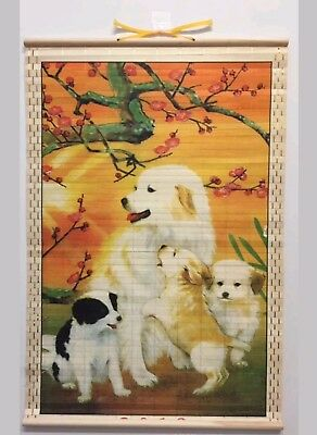 (Dog Family) Wooden Wall Painting Art Scrolls