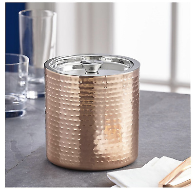 Hammered Copper Stainless Steel Ice Bucket Party Wine Cooler Chiller Barware New