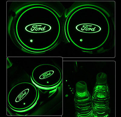 2PCS for Ford LED Car Cup Bottle Holder Pad Mat Auto Interior Atmosphere Lights