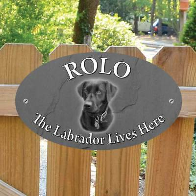 Personalised LABRADOR Gate Sign, Robust Outdoor LABRADOR Lives Here Plaque