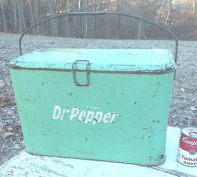 Vintage RARE 1940's Dr. PEPPER GREEN COOLER w/ Ice Box. Galvantized Tin Complete
