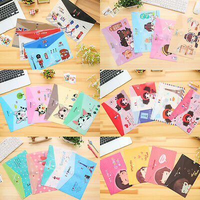 4pk Cute Fashion A4 Plastic Document Wallets File Folders Filling Paper Storage