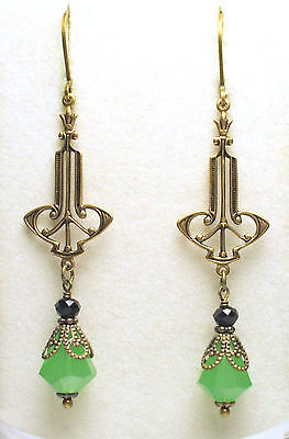 Art Nouveau Art Deco Style Antique Brass Green Opal Black Onyx Flower Earrings