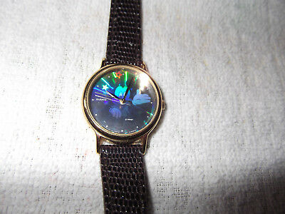 """lorus"" Mickey Mouse-Quartz Hologram Watch - Ladies-Brown Band-Vg+!!"
