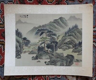Old Antique Chinese Watercolor on Silk Landscape Painting Signed and Stamped