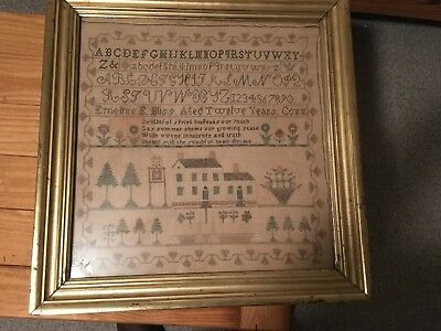 Sampler from Connecticut dated 1828 in Silk and Cotton
