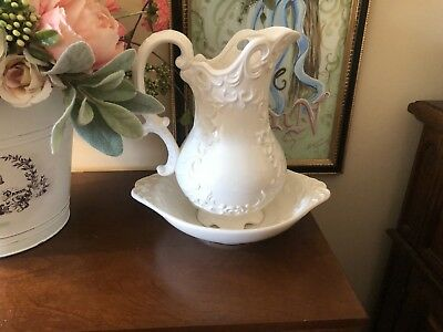 Vintage White Ornate Wash Basin And Pitcher