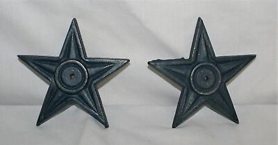 Cast Iron Star Wall Art Decor Blue Americana Architectural Plaque Sign 5 point