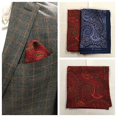 Lot of 2 BROOKS BROTHERS Paisley Pocket Square Handkerchief 100% Silk