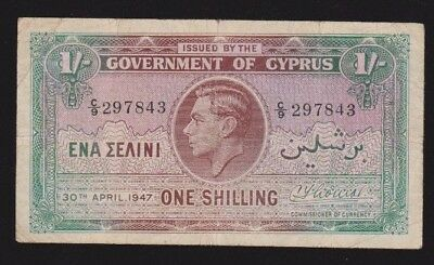 Cyprus 1 Shilling 1947 P#20  Fine -vf Condition Nice Note