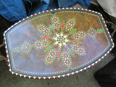 Vtg Wood Tray Inlaid Wood/painted Star Design Art Serving Tray W/handles