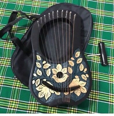 LYRE HARP 10 METAL STRINGS WITH FREE BAG & KEY +extra String