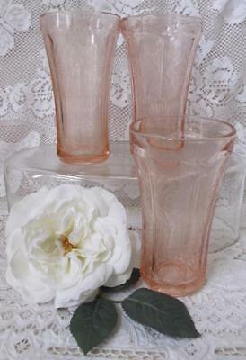 "3 Pink Depression Glass Indiana ""RECOLLECTION"" Flat Tumblers 14 oz. Madrid"