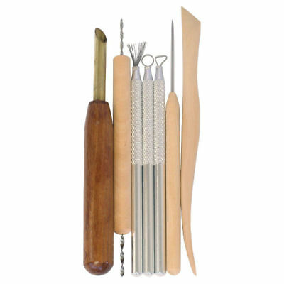 7 Wood Stainless Steel Clay Sculpting Set Wax Carving Pottery Tool Kit UK SELLER