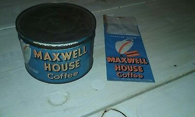 Old Maxwell House Coffee Antique Tin with matching coffee bag. Lot of 2 items.