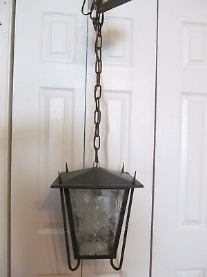 Vtg Wrought Iron Hanging Porch Arts & Craft Clear Swirled Glass Light