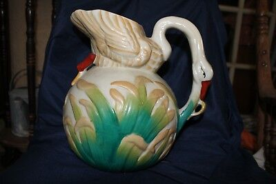 Vintage Antique English Majolica Swan Water Pitcher 1930's