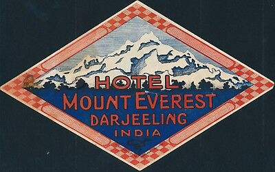 Rare Hotel Mount Everest, Darjeeling, India...original Luggage Label #e912